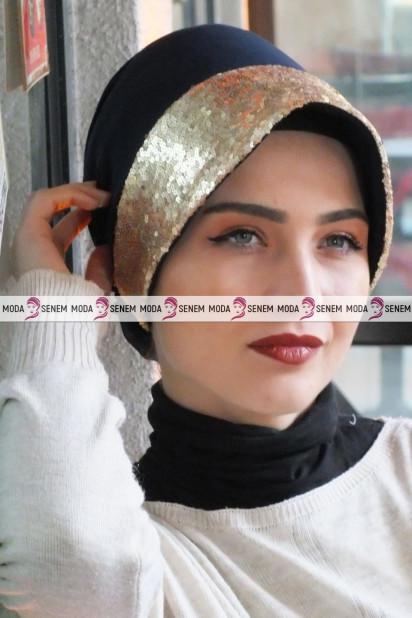 ŞAPKA BONE GOLD PAYETLİ Lacivert