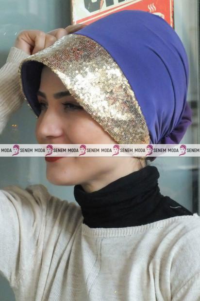 ŞAPKA BONE GOLD PAYETLİ Eflatun