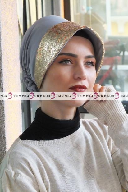 ŞAPKA BONE GOLD PAYETLİ Gri