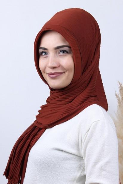 Pliseli Hijab Şal Kiremit