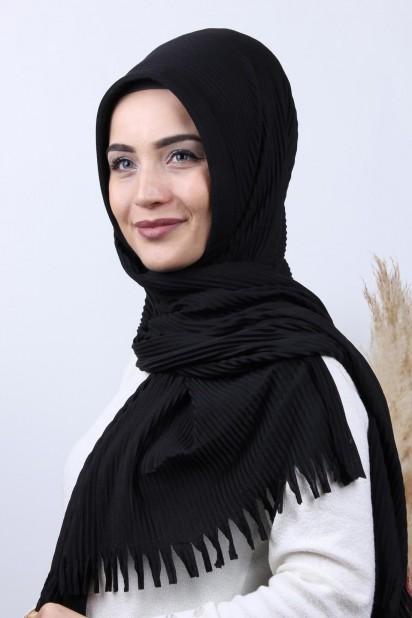 Pliseli Hijab Şal Siyah