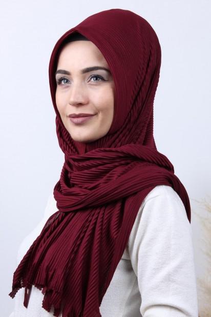 Pliseli Hijab Şal Bordo