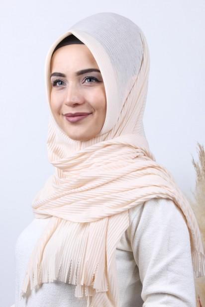 Pliseli Hijab Şal Bej