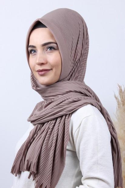 Pliseli Hijab Şal Vizon