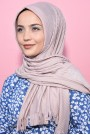 Pliseli Hijab Şal Açık Vizon