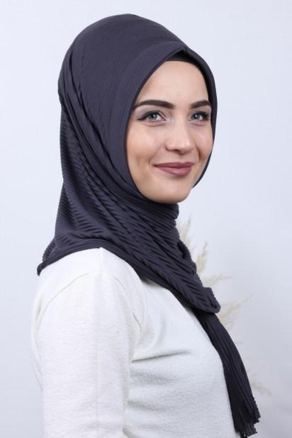 Pliseli Hijab Şal Füme