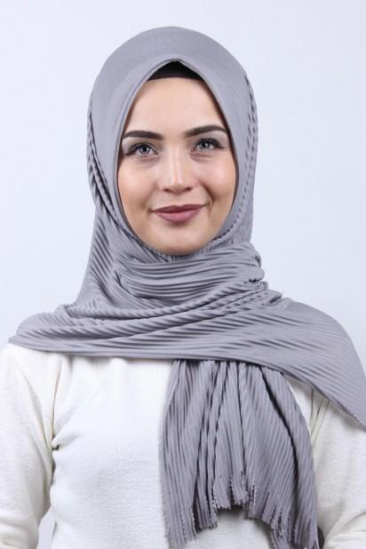 Pliseli Hijab Şal Gri