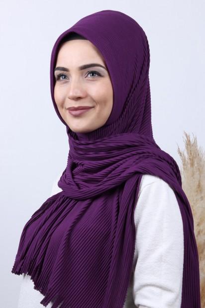 Pliseli Hijab Şal Mor