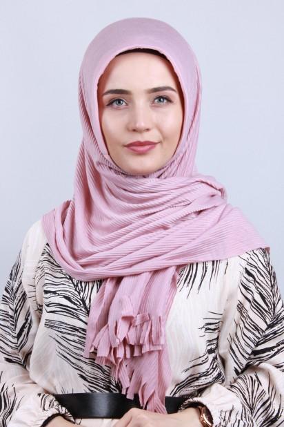 Pliseli Hijab Şal Pudra Pembesi
