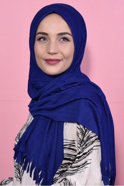 Pliseli Hijab Şal Saks  Mavisi