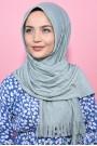 Pliseli Hijab Şal Su Yeşili