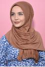 Pliseli Hijab Şal Taba