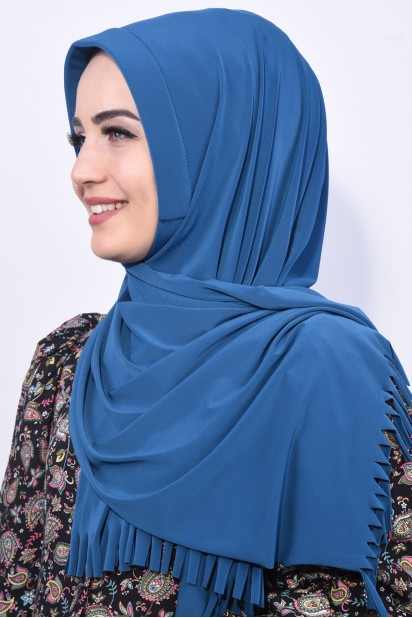 Pratik Hijab Şal Petrol Mavisi