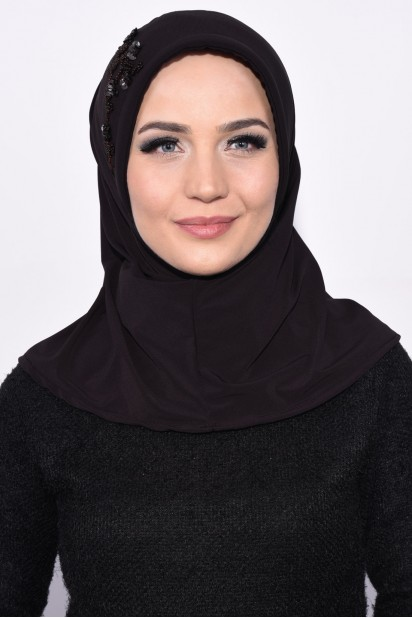 Pratik Pullu Hijab Acı Kahve