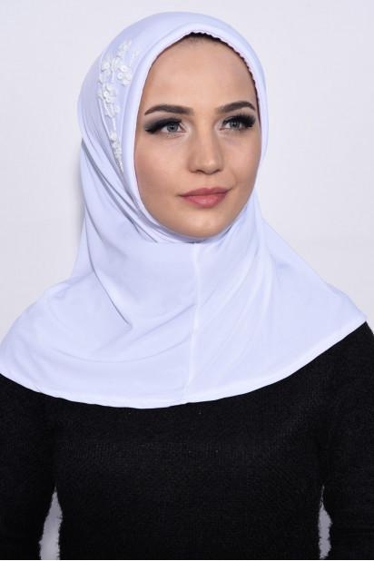 Pratik Pullu Hijab Beyaz