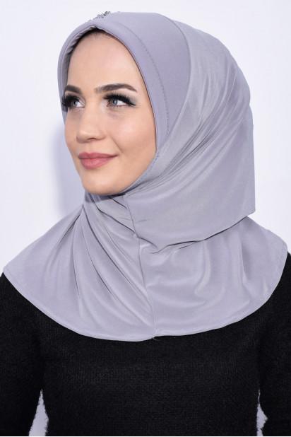 Pratik Pullu Hijab Gri