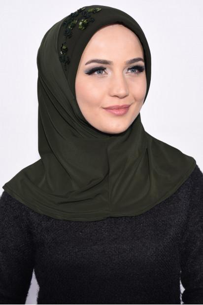 Pratik Pullu Hijab Haki Yeşili