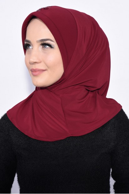 Pratik Pullu Hijab Kırmızı