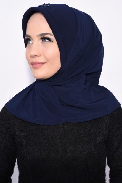 Pratik Pullu Hijab Lacivert