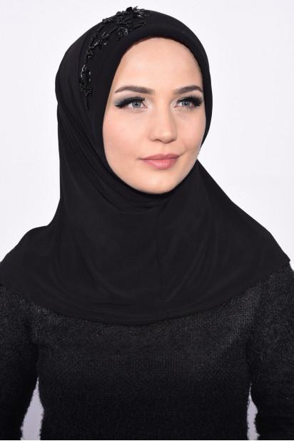 Pratik Pullu Hijab Siyah
