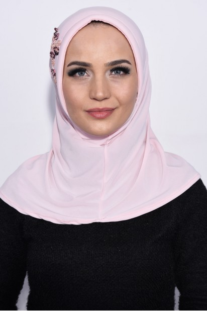 Pratik Pullu Hijab Somon