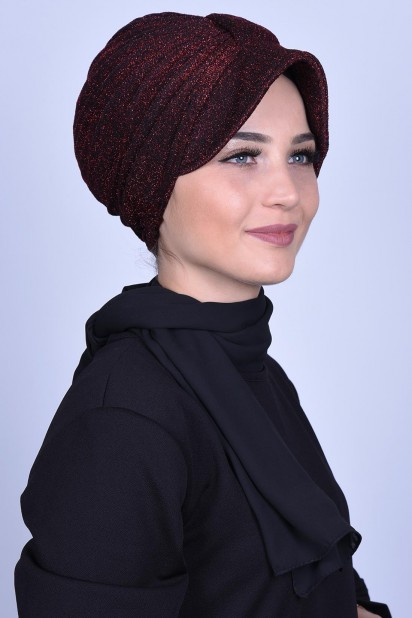 Simli Şapka Bone Bordo