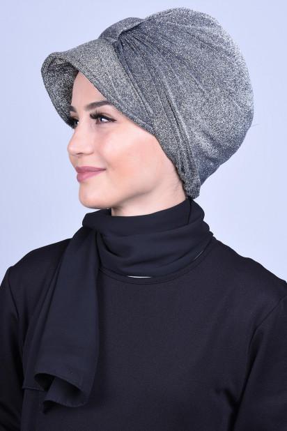 Simli Şapka Bone Gümüş