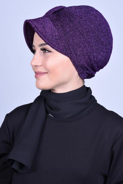 Simli Şapka Bone Mor