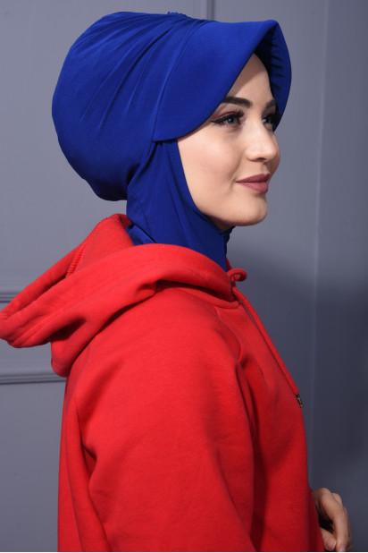 Spor Şapka Scarf Saks Mavisi