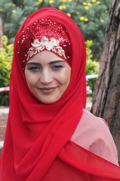 Tasarım Prenses Şal Kırmızı