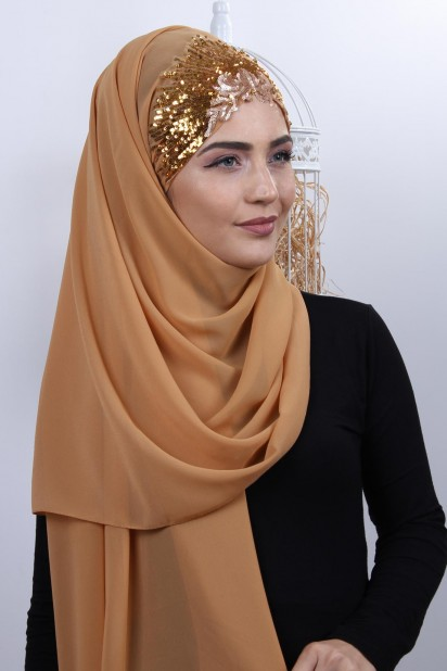 Tasarım Prenses Şal Hardal Sarısı Gold