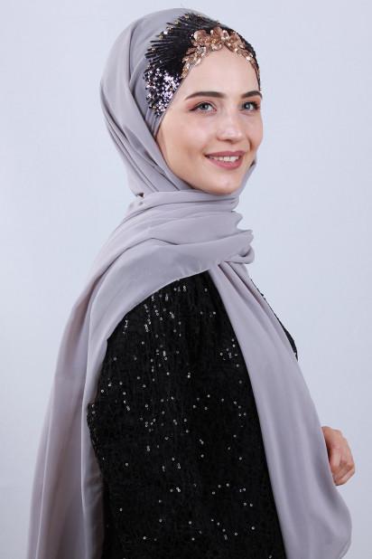 Tasarım Prenses Şal Gümüş Gri