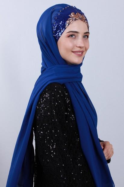 Tasarım Prenses Şal Saks Mavisi