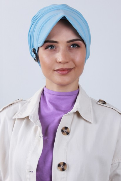 Tokalı Şapka Bone Bebe Mavisi