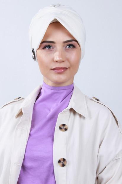 Tokalı Şapka Bone Ekru