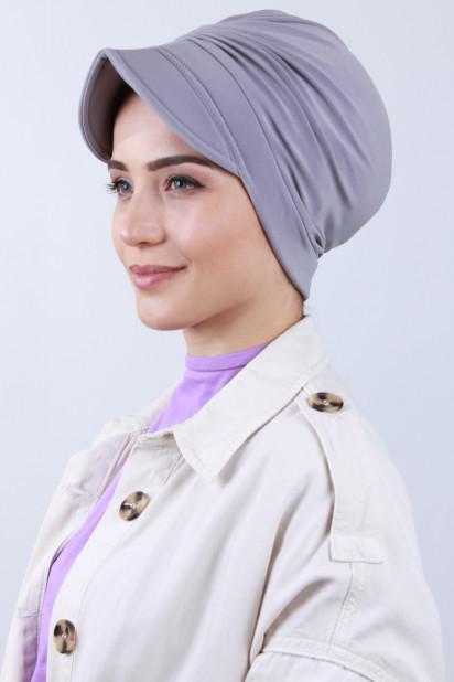 Tokalı Şapka Bone Gümüş Gri